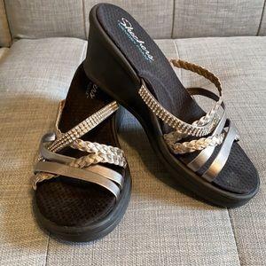 Sketchers silver & black sandals